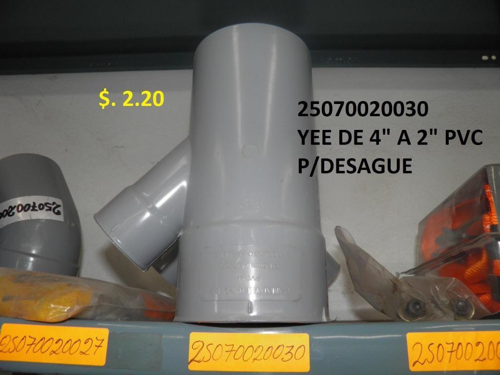 """YEE DE 4"""" A 2"""" PVC P/DESAGUE"""