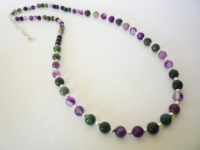 Collar Plata 950 Y Piedras Agatas De Colores, Regalo Mujer