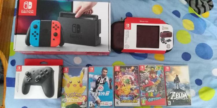 Nintendo Switch Con Juegos Físicos, Digitales Y Accesorios