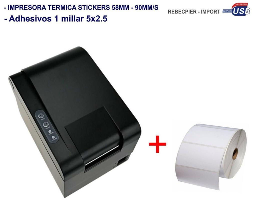 Impresora Termica Etiquetas ticketera adhesivas 60mm