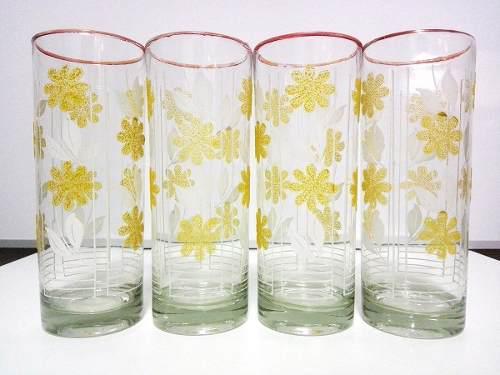4 Vasos Finos Dibujo De Flores En Alto Relieve Y Escarchado