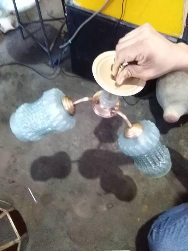 Antigua Lampara De Techo Con Bronce