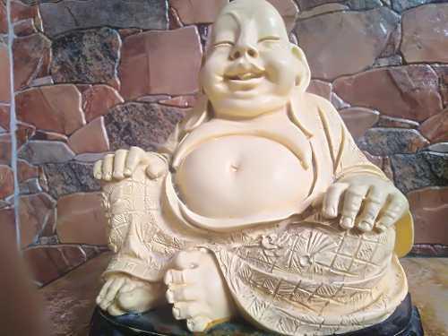 Escultura Buda Antigua De Marfilina Labrada De Coleccion