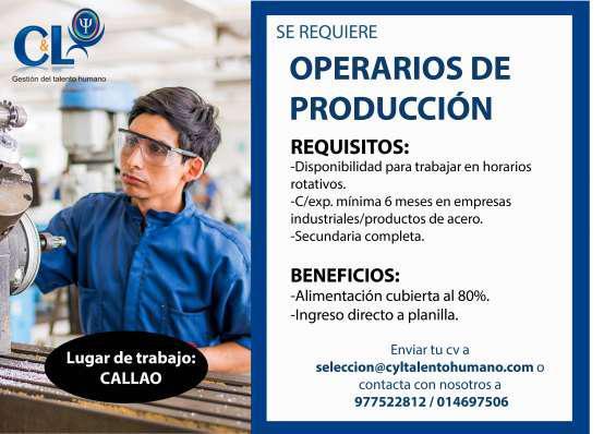Operario de producción en Lima
