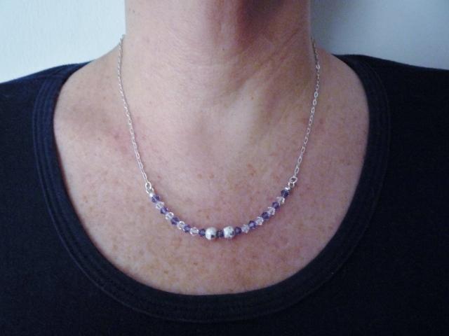 Collar Plata y piedras cristal swarovski, regalo mujer