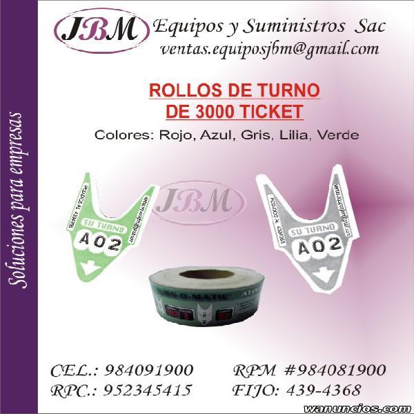 Ticket de turnos / Rollo de turnos / Turnomatico / Equipo de
