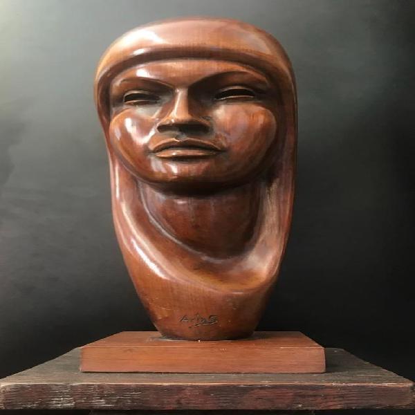 Escultura Madera Retrato Caoba