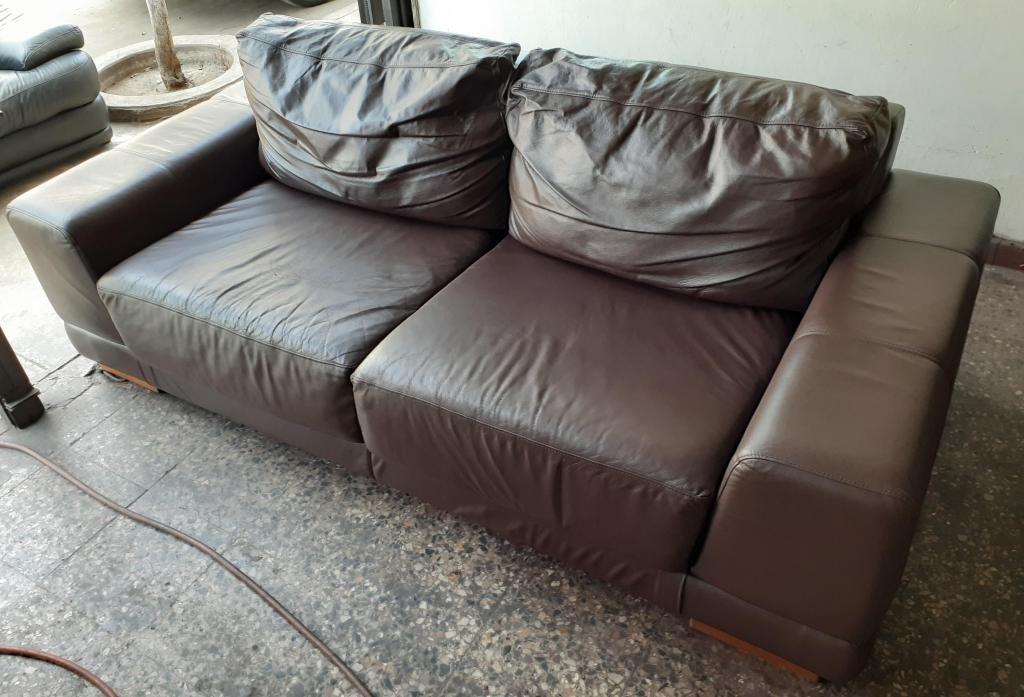 Jgo. de sofas 3 y 2cpos. ROSEN 100% cuero genuino ¡