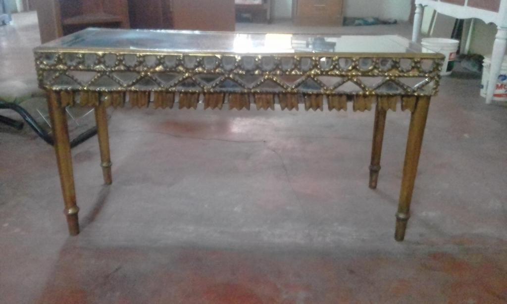 Mesa Consola Antigua De Madera Cedro Vidriado En Pan De Oro