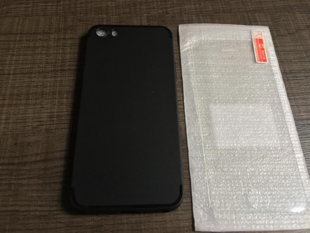 iPhone 5S SE Funda de goma y mica de vidrio templado