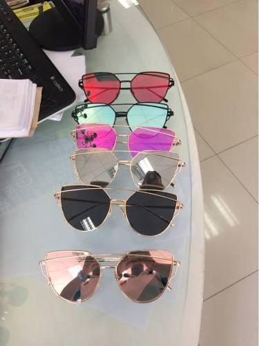 Lentes De Sol Mirrored Ojos De Gato Mujer- Pink Gold