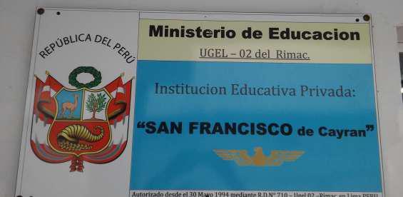 Admisión 2020 colegio san francisco 33 en Lima