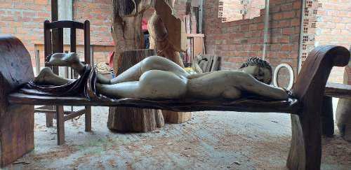 Escultura Tallada De Madera Antigua Afrodita