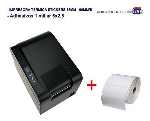 Impresora Térmica Etiquetas Codigo De Barras + Adhesivo Mil