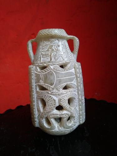 Yh Antiguo Tallado En Piedra De Huamanga Florero Huaco Cambi