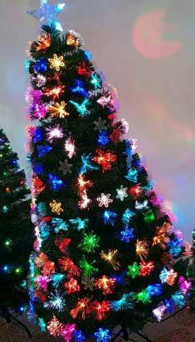 Arbol Navidad Con Luces Led,fibra Optica Y Nieve