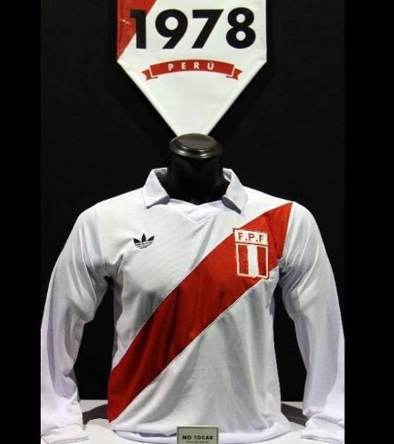 Camiseta Blanca Polo Peru Retro Manga Larga Talla S M L Xl