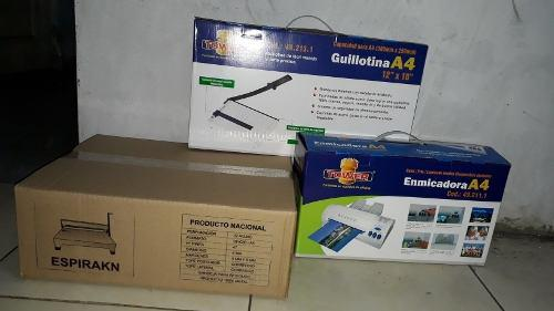 Espiraladora A4-oficio + Guillotina A4 + Enmicadora A4