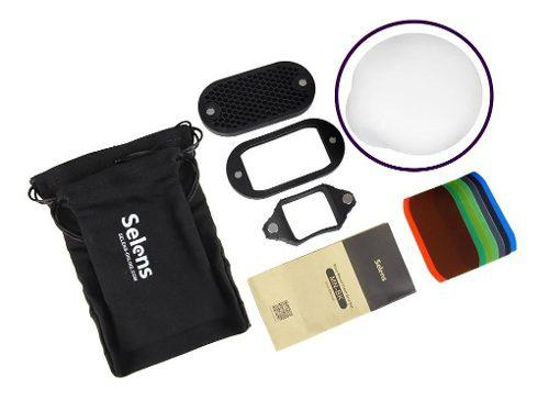 Kit Selens Para Flash Filtro De Colores+difusor Tipo Magmod