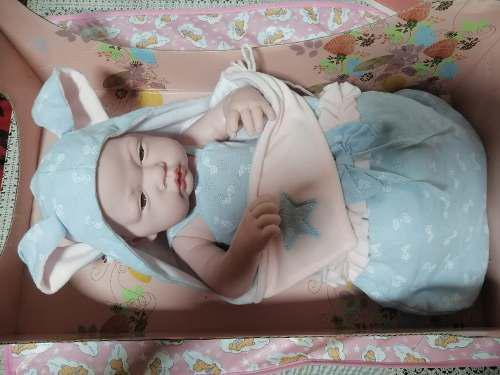 Muñecas Realistas Tipo Reborn Bebe Real 40 Cm Con Cama