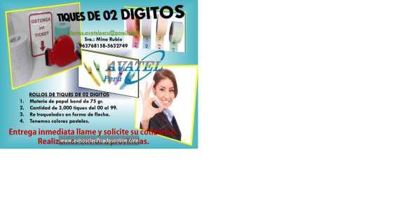 Rollos de tickets de 02 y 03 digitos en Lima