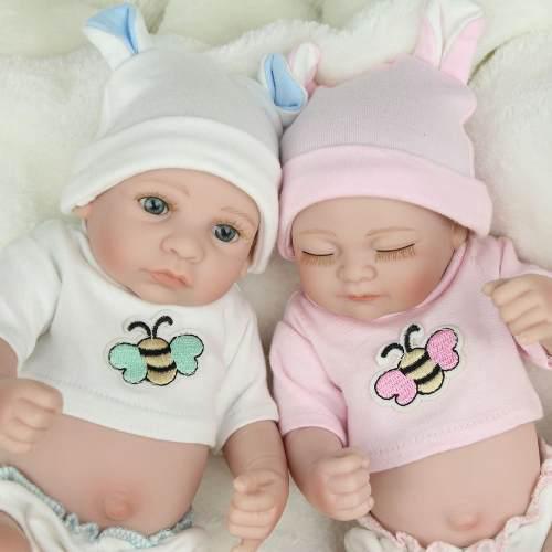 Muñeca Reborn Bebe Gemelos Realista Hecha Mano Silicona