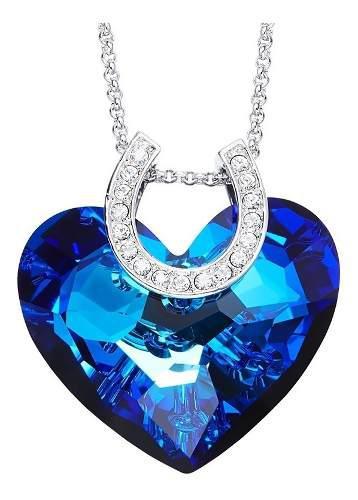 Collar Corazón Océano Con Cristales Swarovski +envío