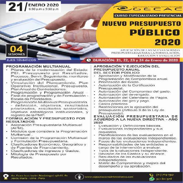 Curso presencial especializado presupuesto publico 2020 en