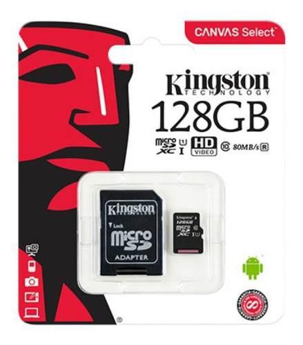 Kingston Memoria Micro Sd Canvas 128gb Clase 10 Uhs-i 80mbs