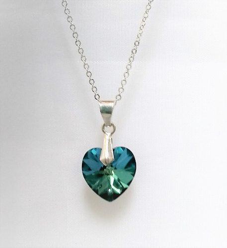 Collar Mujer Corazón Cristal Azul Titanic En Plata 950