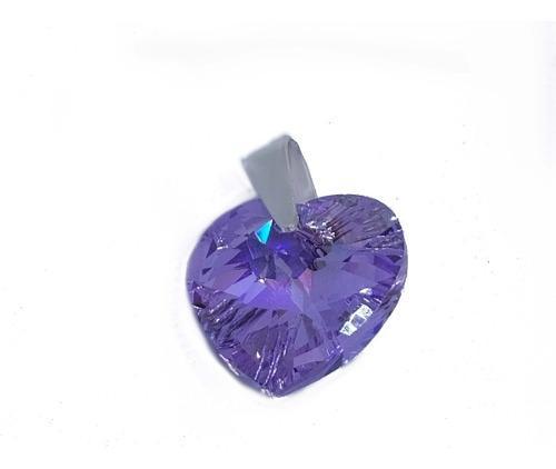 Collar Mujer Corazón Lavanda Cristal En Plata 950