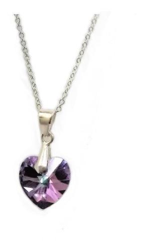 Collar Y Dije Corazón Cristal Vitral Light En Plata 950