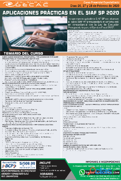 CURSO APLICACIONES PRÁCTICAS EN EL SIAF SP 2020