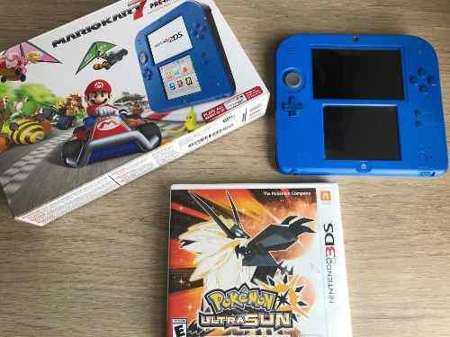 Nintendo 2ds Como Nuevo+5 Juegos+caja+cables- Pokemon Ultra