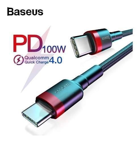 Baseus Cable 2 Metros Usb Tipo C A C 100w Carga Rápida 4,0