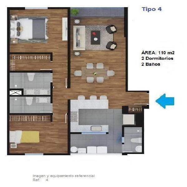 Vendo Departamento 2 Dorm. con Balcon y 1 Cochera Doble