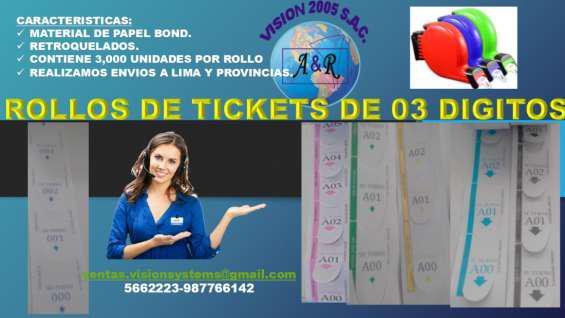 Rollos de tickets de atencion numericos en Lima