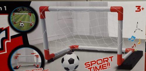 Set Juego De Futbol Arco Con Sonidos 2en1 Pelota E Inflador