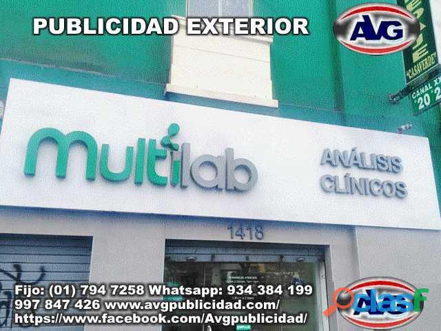 Avisos luminosos PUBLICIDAD EXTERIOR Lima Perú AVG , logos,