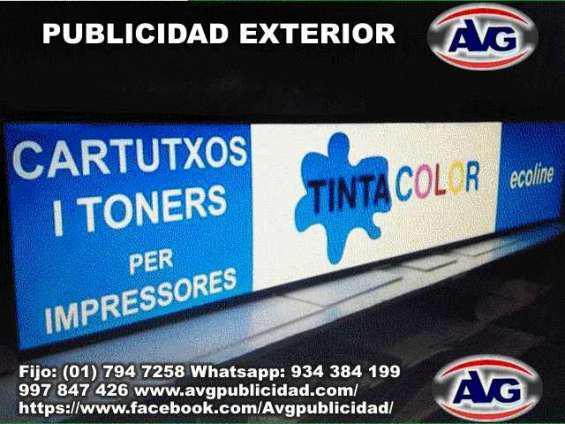 Avisos luminosos lima perú avg publicidad exterior, logos,