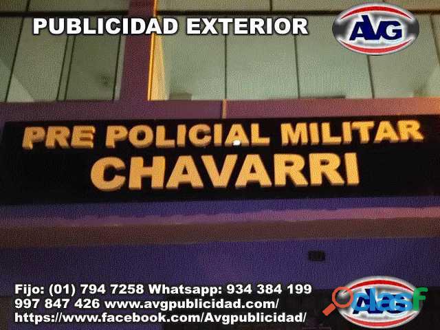 PUBLICIDAD EXTERIOR Avisos luminosos Lima Perú AVG , logos,