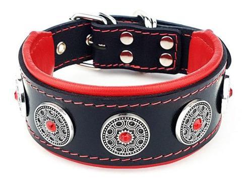 Collar Para Perro Bijou Black/red Bestia Dog Brand. Cuero. M