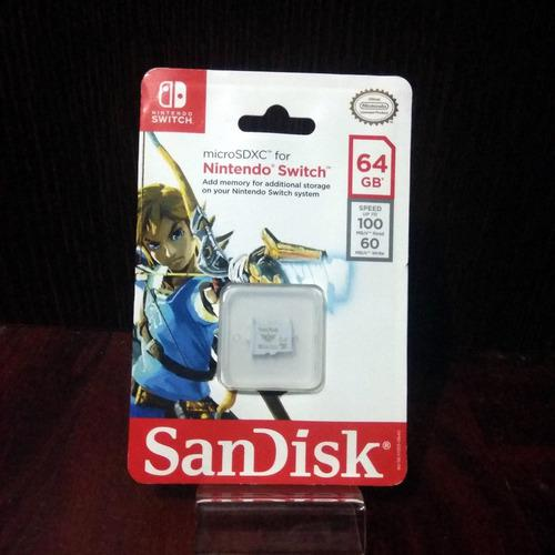 Sandisk 64gb Micro Sdxc Zelda Nintendo Switch Oficial (cgs)