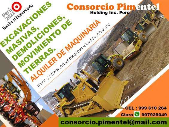Construcciones, ejecución de obras civiles, maquinaria