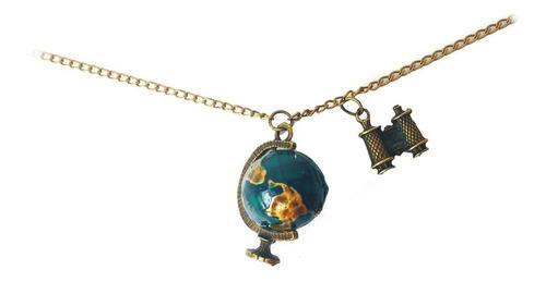 Cadena Collar Vintaje Dije De Planeta / Mundo Viajero
