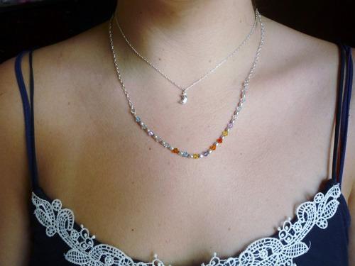Collar Doble, Plata 950 Mujer Luna Cristal Swarovski Colores