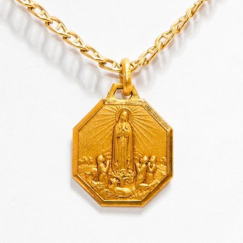 Dije Medalla Virgen De Fátima & Aparición B/ Oro
