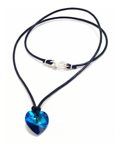 Juego De Collar Corazón Azul Titanic Con Cristales