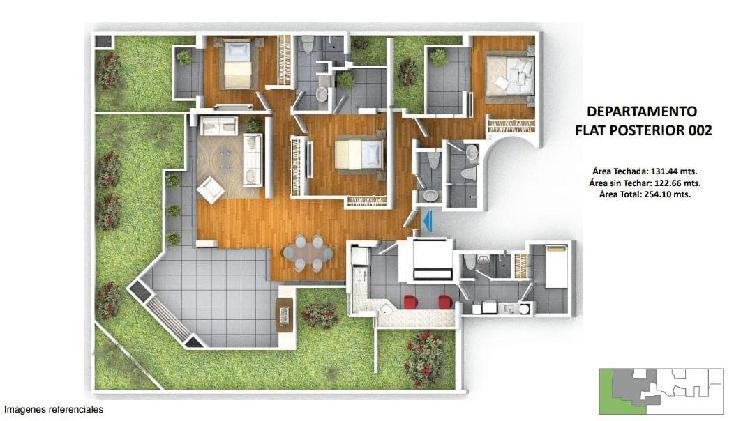 Departamento Proyecto Green Primer Piso 254 m² Area Total,