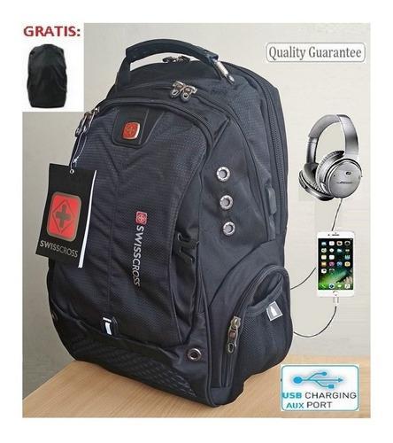 Mochila Laptop Portatil Swiss Puertos Usb Y Auxiliar